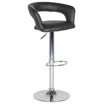 Бар стол Carmen 3068, хромирана база, еко кожа, газов амортисьор за регулиране на височината, ринг за поставяне на краката, черен  image
