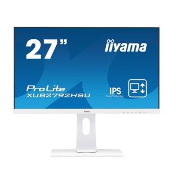 "Монитор IIYAMA XUB2792HSU-W1, 27"" (68.58 cm) IPS панел, 75Hz, Full HD, 4ms, 80M:1, 250 cd/m2, DisplayPort, HDMI, VGA, USB HUB image"