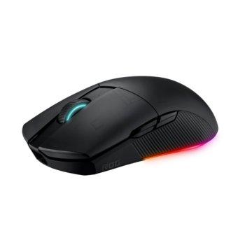 Мишка Asus ROG Pugio II, гейминг, безжична (RF 2.4GHz & Bluetooth 5.0), оптична (16 000dpi), USB, черна, Aura Sync RGB подсветка image