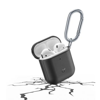Калъф за слушалки Apple AirPods, Cellular Line Defender, удароустойчив, кука за закрепване, черен image