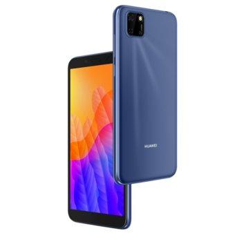 """Смартфон Huawei Y5p (син), поддържа 2 sim карти, 5.45"""" (13.84 cm) TFT LCD HD+ дисплей, осемядрен Cortex-A53 2.0GHz, 2GB RAM, 32GB Flash памет (+Micro SD слот), 8.0 MPix & 5.0 MPix предна камера, EMUI 10.1, 144g image"""