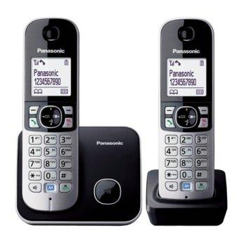 """Безжичен телефон Panasonic KX-TG 6812FXB, 1.8""""(4.6cm) монохромен дисплей, черен image"""