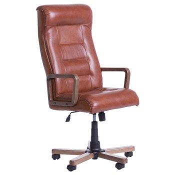 Директорски стол Carmen Royal Wood LUX, естествена кожа, дървени подлакътници, дървена база, регулируем люлеещ механизъм, газов амортисьор, меден image