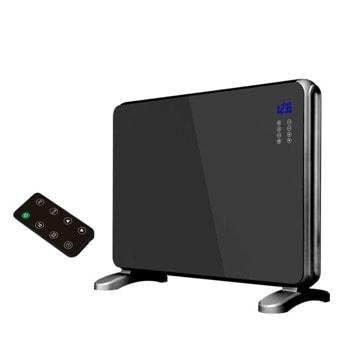 Конвектор Zephyr ZP 1974 G, 2000W, за под или стена, 2 степени, дистанционно, 5 до 35°C, LCD дисплей, функция за интелигентно засичане на отворен прозорец, защита против пpeoбpъщaнe, зaщитa пpoтив пpeгpявaнe, черен image