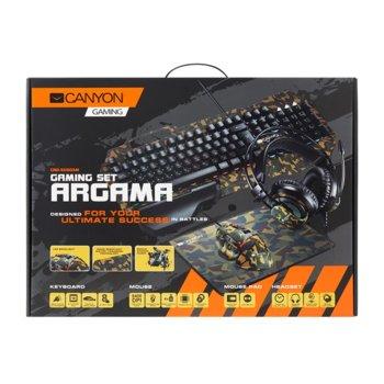 Комплект клавиатура, мишка, пад и слушалки Canyon CND-SGS03M-US, подсветка, оптична мишка (6400 dpi), USB, камуфлаж image