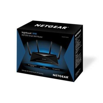 Рутер Netgear Nighthawk X10 R9000, 7200Mbps, 2.4GHz(800 Mbps)/5GHz(1733 Mbps)/60GHz(4600 Mbps), Wireless AD, 6x LAN 1000, 1x WAN 1000, 2x USB 3.0, 4x външни антени, четириядрен процесор 1.7GHz, 1GB RAM, 512MB NAND Flash памет image