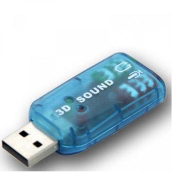 Външна звукова карта, USB, 3.5mm жак, MIC жак, синя image
