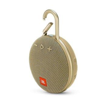 Тонколона JBL Clip 3, 1.0, 3W RMS, безжична, 3.5mm jack/Bluetooth, пясъчна, микрофон, IPX7, до 10 часа работа image