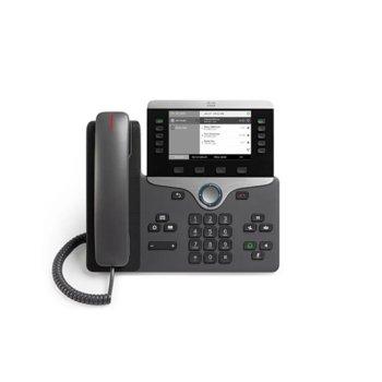 "VoIP телефон Cisco IP Phone 8811, 5.0"" (12.70 cm) VGA чернобял дисплей, 2x USB A 2.0, 2x LAN1000 Base-T, PoE, черен image"