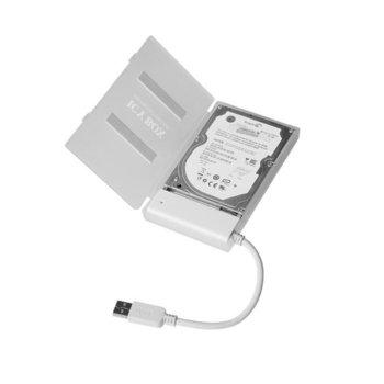 """Кутия 2.5"""" (6.35 cm), RaidSonic Icy Box IB-AC603a-U3, от USB 3.0 A(м) към SATA 1,5/3.0Gbit/s, бяла image"""
