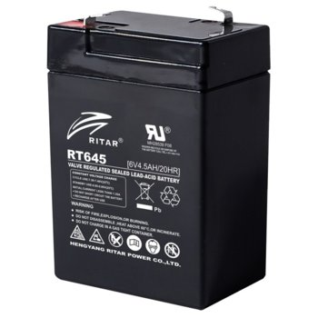 Акумулаторна батерия Ritar Power RT645, 6V, 4.55Ah, AGM image