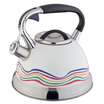 Свирещ чайник Oliver Brown OB 1220 B, 3 литра, променящ цвета си при завиране, индукция, бял image
