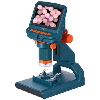 Микроскоп Levenhuk LabZZ DM200 LCD, увеличение до 220x, LCD дисплей, включва готови за употреба микроскопски проби, син image