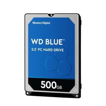 """Твърд диск 500GB WD Blue PC Mobile, SATA 6Gb/s, 5400rpm, 16MB, 2.5""""(6.35 cm) 7mm image"""