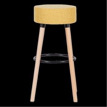 Бар стол Carmen 4025, до 100кг, дамаска, дървена база, жълт image