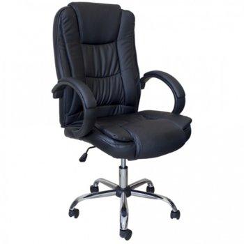 Директорски стол NANCY, еластична еко кожа, люлеещ механизъм, хромирана петлъчева основа, черен image