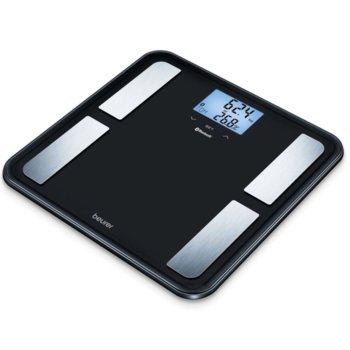 Цифров кантар с анализатор Beurer BF 850 diagnostic bathroom scale, капацитет 180 кг, LCD двоен дисплей, с включена батерия, претегля теглото, телесната мазнина, съдържанието на вода в организма, мускулна маса,калории костна маса, черен image