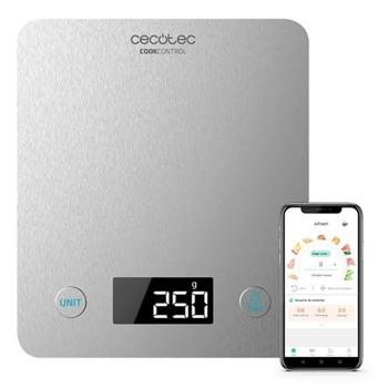 Кухненски кантар Cecotec CookControl 10000 (CEC-04116), дигитален, до 5кг капацитет, LCD екран с подсветка, Bluetooth свързаност, автоматично включване и изключване, сребрист image