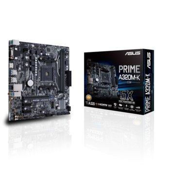 Дънна платка Asus Prime A320M-K/CSM, A320, AM4, DDR4, PCI-Е 3.0 (HDMI&VGA), 4 x SATA 6Gb/s port, 1x M.2 Socket 3, 4x USB 3.1, mATX image
