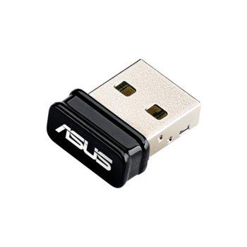 Мрежови адаптер Asus USB-N10, 150Mbps, Wireless-N/B/G, USB Nano Adapter image
