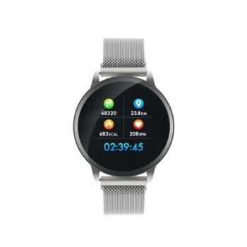 "Смарт часовник Canyon CNS-SW71BB, 1.22""(3.09 cm) дисплей, до 7 дни време на работа, Bluetooth, IP68, с метална и силиконова каишка, сребрист image"