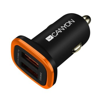Зарядно Canyon CNE-CCA02B, от автомобилна запалка към 2x USB (ж), 5V, 2.1A, черно image