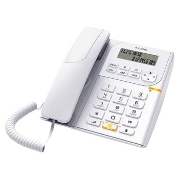 Стационарен телефон Alcatel T58, Течнокристален едноредов черно-бял дисплей, бял image