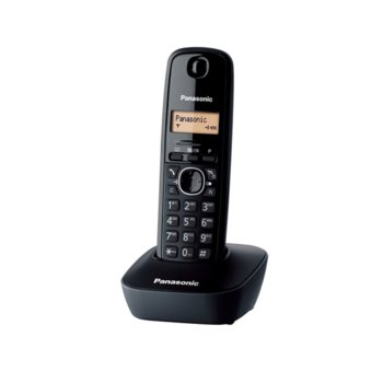 Безжичен телефон Panasonic KX-TG1611,течнокристален черно-бял дисплей, черен image