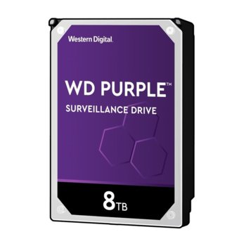 "Твърд диск 8TB WD Purple Surveillance, SATA 6Gb/s, 7200rpm, 256 MB, 3.5"" (8.89 cm) image"