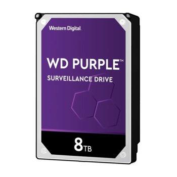 "Твърд диск 8TB WD Purple Surveillance, SATA 6Gb/s, 7200rpm, 256 MB, 3.5"" (8.89 cm) image"