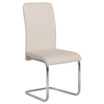 Трапезен стол Carmen 372, еко кожа, хромирана база, слонова кост image