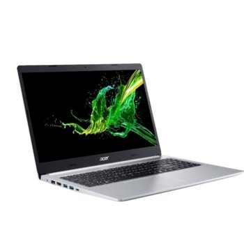"Лаптоп Acer Aspire 5 A515-54G-37N8 (NX.HV5EX.003)(сребрист), двуядрен Comet Lake Intel Core i3-10110U 2.1/4.1 GHz, 15.6"" (39.62 cm) Full HD IPS Anti-Glare Display & MX350 2GB, (HDMI), 4GB DDR4, 256GB SSD, 1x USB-C, Linux image"