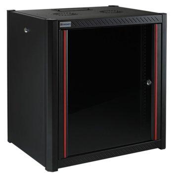 """Комуникационен шкаф Mirsan MR.WTN09U56.01, 19"""", 9U, 560mm, черен, за стена image"""