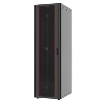 """Комуникационен шкаф Security Professionals MR.GTN42U68.01, 19"""", 42U, 600 x 800 x 2004, свободностоящ, товароносимост 600кг, вентилационни отвори, стъклена врата, отваряеми задни и странични панели с опция сектретно заключване, черен image"""