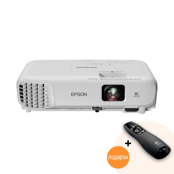 Проектор Epson EB-W05 с подарък лазерна показалка Logitech R400, 3LCD, WXGA (1280 x 800), 15,000:1, 3300 lm, HDMI, USB Type A, USB Type B, VGA image