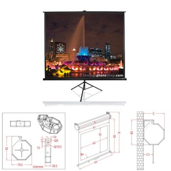 "Екран Elite Screens 113"" (287.02 cm), 203.2 x 203.2 cm ползваема площ, на стойка, 2г. image"
