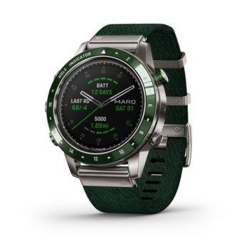 Смарт часовник Garmin MARQ Golfer, 30.4 мм диаметър на дисплея, 32GB памет, водоустойчив(10 ATM), до 28 дни време за работа, зелен image