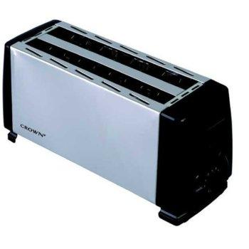 Тостер Crown CT-1205DX, 2 отделения, регулируем таймер, бутон за отказ, за четири филийки, 1200W, бял image