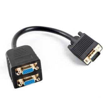 Сплитер Lanberg AD-0020-BK, от VGA(м) към 2x VGA(ж), черен image