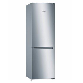 Хладилник с фризер Bosch KGN33NLEB, клас A++, 279 л. общ обем, свободностоящ, 228 kWh/годишно, NoFrost, VitaFresh чекмедже, инокс image