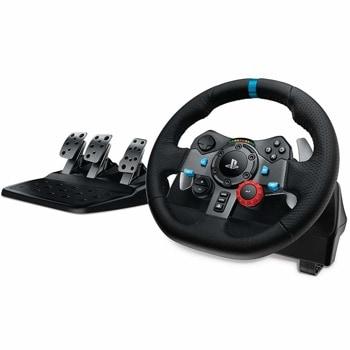 Волан с педали Logitech G29 Driving Force (941-000112), PC, PS3/PS4, сътезателен модел, 900 градуса на завъртане, черен image