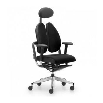 Офис стол Xenium Freework Duoback, гъвкава раздвоена облегалка, контрол на облегалката, облегалка за глава, масажен ефект, хромирана база, черен image