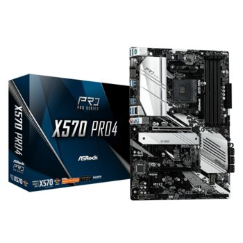 Дънна платка ASRock X570 Pro4, X570, AM4, PCIe 4.0 (DisplayPort&HDMI)(CFX), 8x SATA3 6.0 Gb/s, 1x Hyper M.2 Socket, 6x USB 3.2 Gen1, ATX image