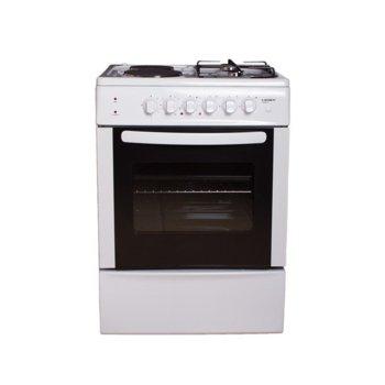Готварска печка Crown CR-6060V, клас А, 4 нагревателни зони (2 електрически, 2 газови), 66 л. обем на фурната, вентилатор, бяла  image