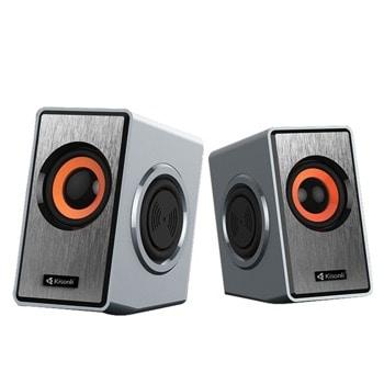 Мини Аудио Система Kisonli T-007 - 4bass, 2.0, 2x3W, 3.5mm стерео, USB захранване, сиви image