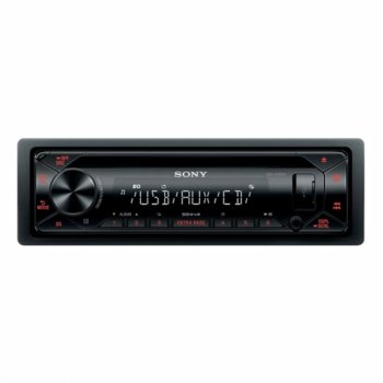 Аудио система за кола Sony CDX-G1302U, 4x55W, USB, AUX, вграден тунер за FM радио, червена подсветка, черна image