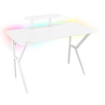 Компютърно бюро Genesis Holm 320 RGB, LED RGB, безжично зарядно, 3x USB 3.0 порта, гейминг, бяло image