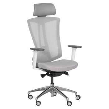 Президентски стол Carmen 7540, до 130кг, дамаска/мрежа/еко кожа, алуминиева база, газов амортисьор, коригиране височина, регулируем люлеещ механизъм, мултиблок механизъм, заключване в позиция, светлосив image