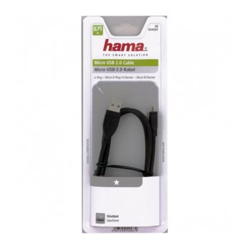 Кабел Hama от USB А(м) към USB Micro B(м), 0.75 м image