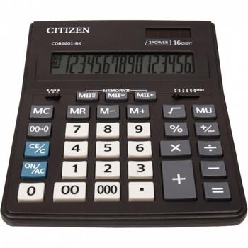 Калкулатор Citizen CMB-1601BK, 16-цифрен едноредов LCD дисплей, настолен, корен квадратен, десетичен селектор, закръглящ селектор, функция на паметта с 4 клавиша: MR, MC, M +, M-, автоматично изключване, черен image
